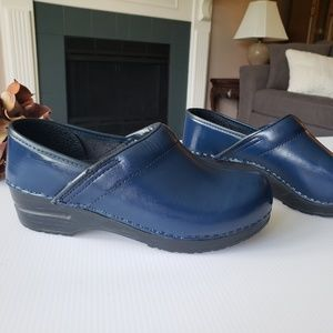 Sanita Danish Professional Blue Leather Clogs 37